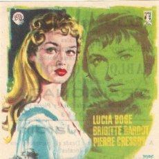 Cine: PROGRAMA DE CINE - TRAICIONADA - BRIGITTE BARDOT, LUCÍA BOSÉ - CINE DUQUE JARDÍN (MÁLAGA) - 1959.. Lote 194717092