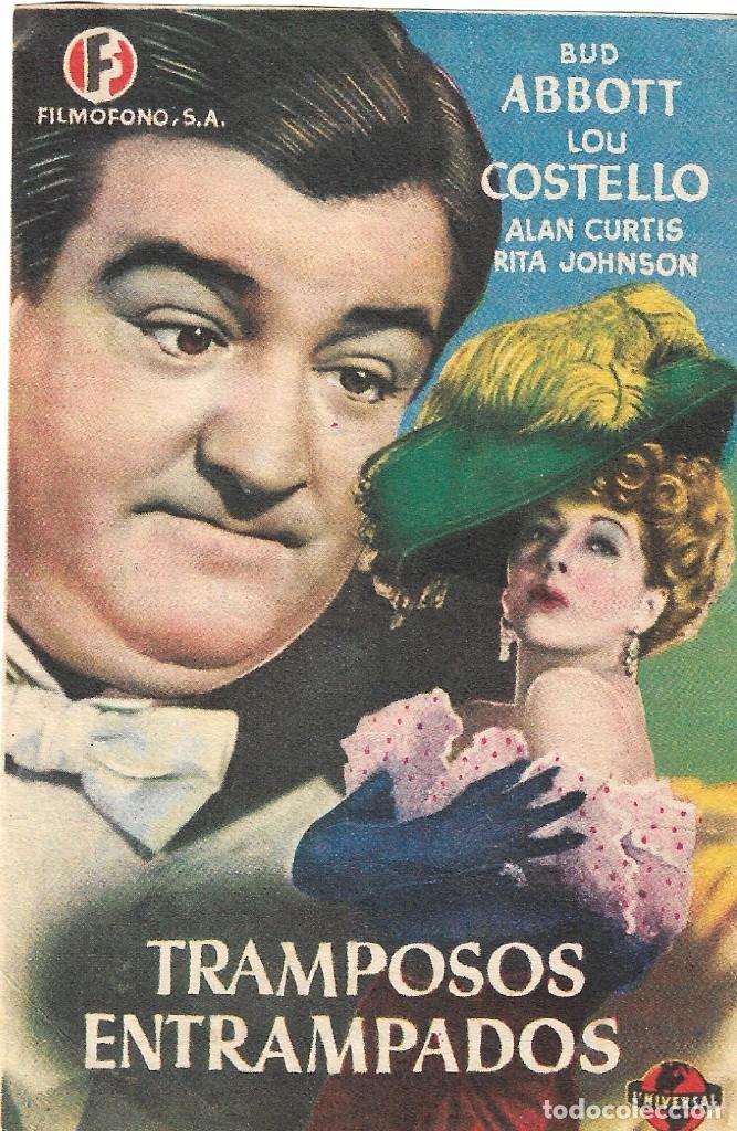 PROGRAMA DE CINE - TRAMPOSOS ENTRAMPADOS - BUD ABBOTT, LOU COSTELLO - MÁLAGA CINEMA - 1945. (Cine - Folletos de Mano - Comedia)