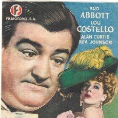 Cine: PROGRAMA DE CINE - TRAMPOSOS ENTRAMPADOS - BUD ABBOTT, LOU COSTELLO - MÁLAGA CINEMA - 1945.. Lote 194717695