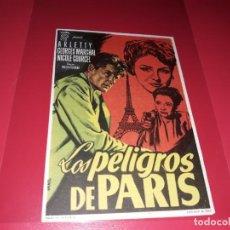 Cine: LOS PELIGROS DE PARIS. PUBLICIDAD AL DORSO. AÑO 1951.. Lote 194717708