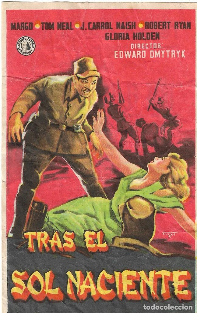 PROGRAMA DE CINE - TRAS EL SOL NACIENTE - MARGO, TOM NEAL - TEATRO CERVANTES (MÁLAGA)- 1943. (Cine - Folletos de Mano - Bélicas)