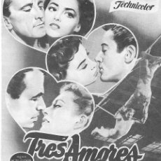 Cine: PROGRAMA DOBLE - TRES AMORES - KIRK DOUGLAS, PIER ANGELI - CINE AVENIDA (MÁLAGA) - 1953.. Lote 194723123