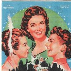 Cine: PROGRAMA DE CINE - TRES CHICAS CON SUERTE - DEBBIE REYNOLDS - CINE ECHEGARAY (MÁLAGA) - 1957.. Lote 194723773