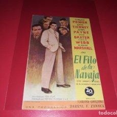 Cine: AL FILO DE LA NAVAJA CON TYRONE POWER. PUBLICIDAD AL DORSO. AÑO 1946. Lote 194727135