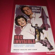 Cine: RED INVISIBLE. PUBLICIDAD AL DORSO. AÑO 1957.. Lote 194730098