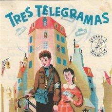 Cine: PROGRAMA DE CINE - TRES TELEGRAMAS - HENRY CREMIEUX, OLIVIER HUSSENOT - CINE ALKAZAR (MÁLAGA) - 1950. Lote 194866193