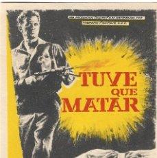 Cine: PROGRAMA DE CINE - TUVE QUE MATAR - DIETER EPPLER, TONY BRITTON - CINE ALAMEDA (MÁLAGA) - 1963.. Lote 194874487