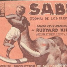 Cine: PROGRAMA DOBLE - SABÚ. TOOMAI DE LOS ELEFANTES - CINE ALKÁZAR (MÁLAGA) - 1942.. Lote 194876445