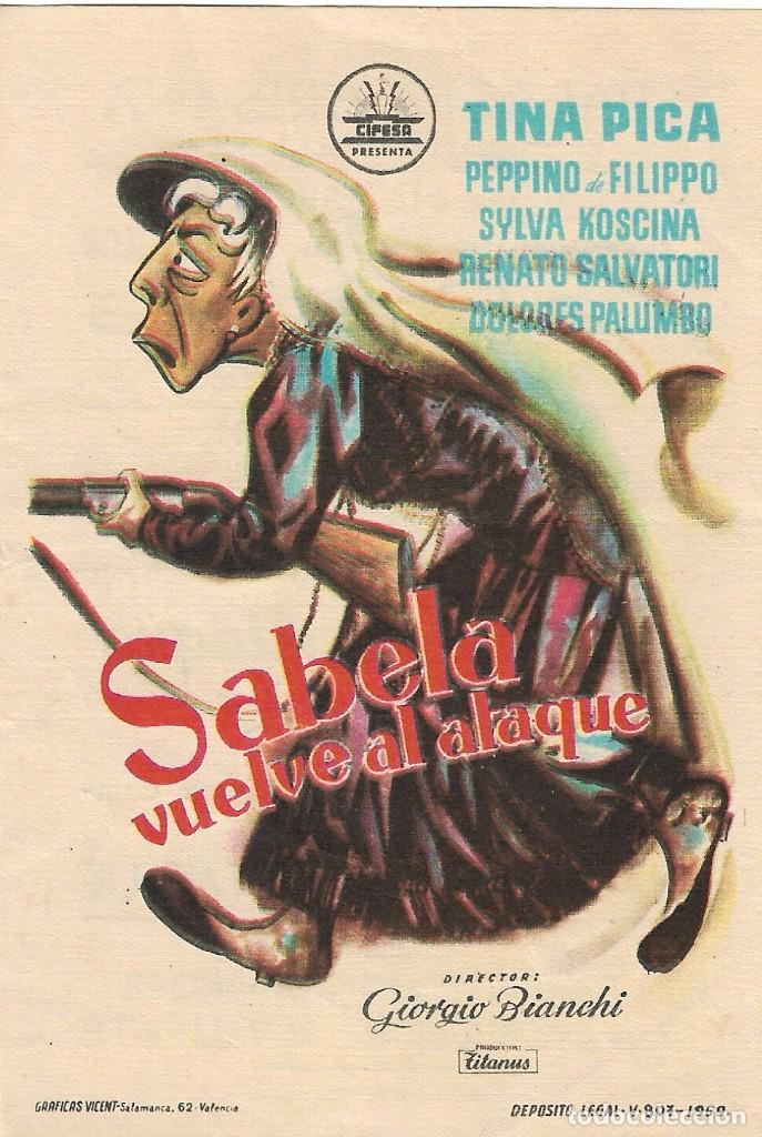 PROGRAMA DE CINE - SABELA VUELVE AL ATAQUE - TINA PICA - PALACIO ERISANA (LUCENA, CÓRDOBA) - 1959. (Cine - Folletos de Mano - Comedia)