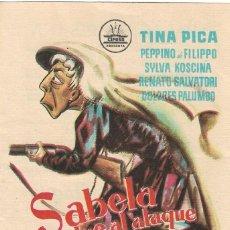 Cine: PROGRAMA DE CINE - SABELA VUELVE AL ATAQUE - TINA PICA - PALACIO ERISANA (LUCENA, CÓRDOBA) - 1959.. Lote 194878181