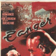 Cine: PROGRAMA DE CINE - TÁNGER - VIVIANNE ROMANCE, ERICH VON STROHEIM - CINE CAPITOL Y JARDÍN (MÁLAGA). Lote 194882312