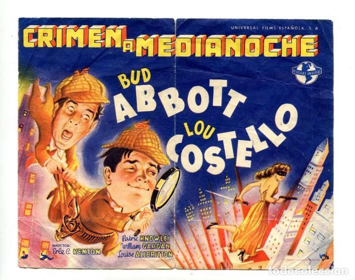 CRIMEN A MEDIANOCHE, CON BUD ABBOTT Y LOU COSTELLO. (Cine - Folletos de Mano - Comedia)