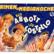 Cine: CRIMEN A MEDIANOCHE, CON BUD ABBOTT Y LOU COSTELLO.. Lote 194883881