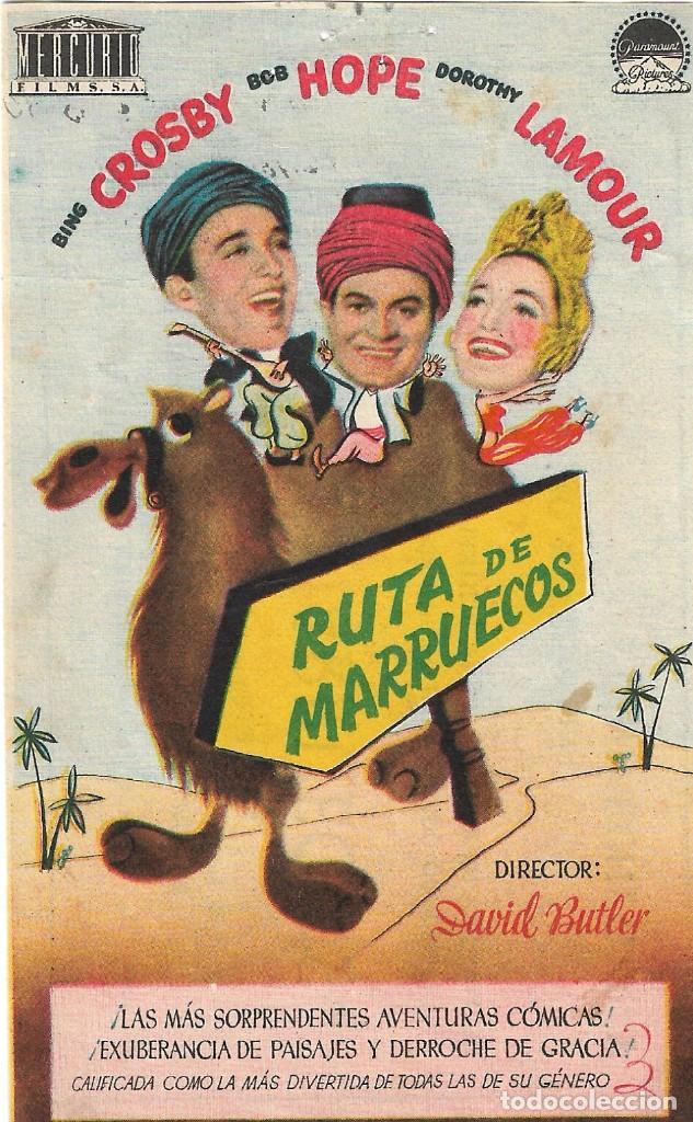 PROGRAMA DE CINE - RUTA DE MARRUECOS - BING CROSBY, BOB HOPE - CINE ECHEGARAY (MÁLAGA) - 1942. (Cine - Folletos de Mano - Comedia)