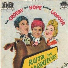Cine: PROGRAMA DE CINE - RUTA DE MARRUECOS - BING CROSBY, BOB HOPE - CINE ECHEGARAY (MÁLAGA) - 1942.. Lote 194885073