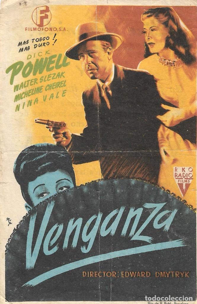 PROGRAMA DE CINE - VENGANZA - DICK POWELL - CINE AVENIDA (MÁLAGA) - 1945. (Cine - Folletos de Mano - Suspense)