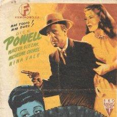 Cine: PROGRAMA DE CINE - VENGANZA - DICK POWELL - CINE AVENIDA (MÁLAGA) - 1945.. Lote 194887195