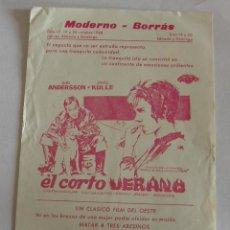 Cine: PROGRAMA DE CINE EL CORTO VERANO, SIN PUBLICIDAD. Lote 194888933