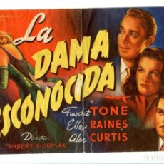 Cine: LA DAMA DESCONOCIDA, CON FRANCHOT TONE.. Lote 194895241