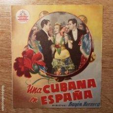 Cine: FOLLETO DE MANO UNA CUBANA EN ESPAÑA BLANQUITA AMARO MARUJITA DÍAZ CINE GOYA ALCOY. Lote 194964391