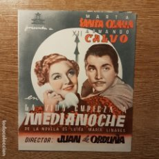 Cine: FOLLETO DE MANO LA VIDA EMPIEZA A MEDIANOCHE MARTA SANTA OLALLA JOSE ISBERT COLISEO OLYMPIA. Lote 194964828