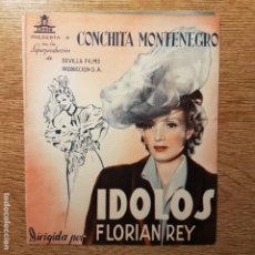 Cine: FOLLETO DE MANO IDOLOS CONCHITA MONTENEGRO ISMAEL MERLO TEATRO CIRCO ALCOY 1943. Lote 194965622