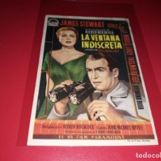 Cine: LA VENTANA INDISCRETA DE ALFRED HITCHOCK. PUBLICIDAD AL DORSO.AÑO 1954.. Lote 194971400