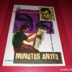 Cine: MINUTOS ANTES. PUBLICIDAD AL DORSO.AÑO 1956.. Lote 194971553