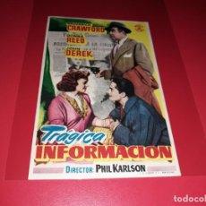 Cine: TRÁGICA INFORMACIÓN. PUBLICIDAD AL DORSO. AÑO 1952.. Lote 194972071