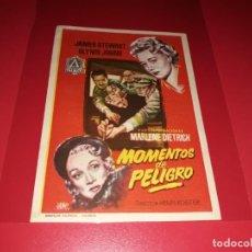 Cine: MOMENTOS DE PELIGRO CON JAMES STEWART Y MARLENE DIETRICH. PUBLICIDAD AL DORSO. AÑO 1951.. Lote 194972275