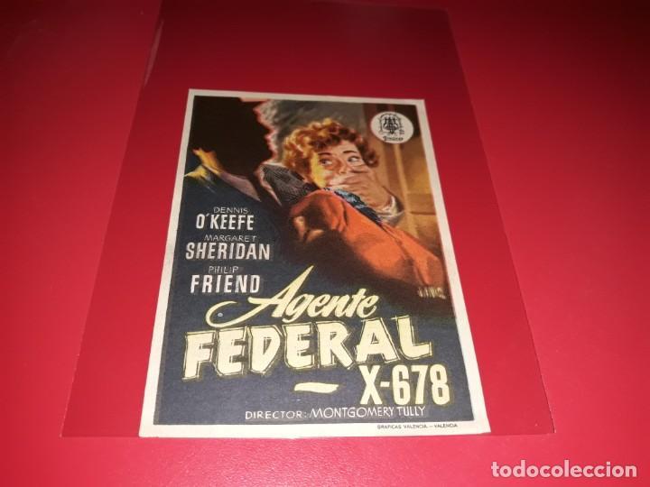 AGENTE FEDERAL X- 678. PUBLICIDAD AL DORSO. AÑO 1954 (Cine - Folletos de Mano - Ciencia Ficción)