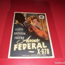 Cine: AGENTE FEDERAL X- 678. PUBLICIDAD AL DORSO. AÑO 1954. Lote 194972477