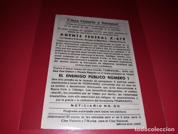 Cine: Agente Federal X- 678. Publicidad al dorso. Año 1954 - Foto 2 - 194972477