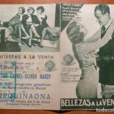 Cine: BELLEZAS A LA VENTA FOLLETO DE MANO ORIGINAL ESTRENO CON CINE IMPRESO. Lote 195051596