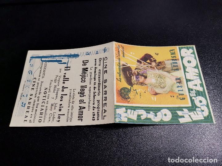Cine: DE MEJICO LLEGO EL AMOR-CINE SARREAL TARRAGONA 1943 - Foto 4 - 195163285