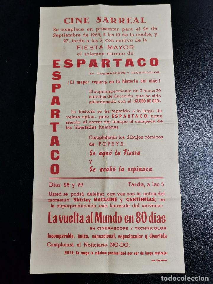 Cine: ESPARTACO- CINE SARREAL 1963 TARRAGONA - Foto 3 - 195171327