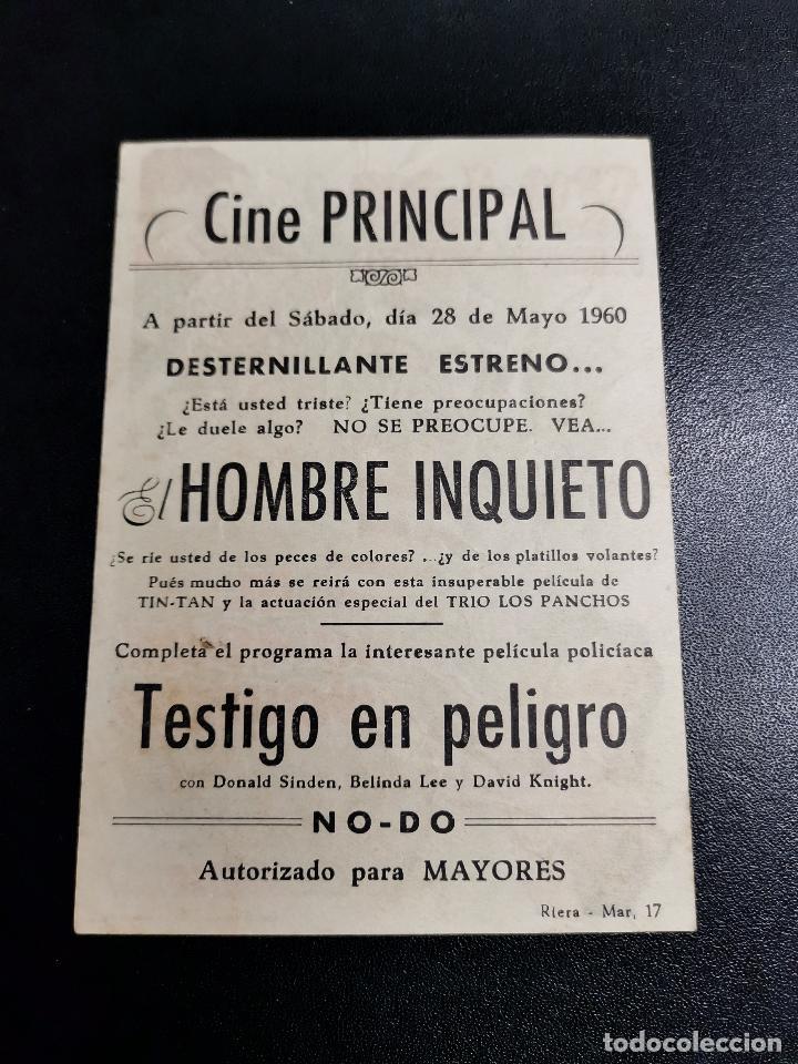 Cine: EL HOMBRE INQUIETO PROGRAMA SENCILLO SELECCIONES TELE FILMS TIN TAN CINE SARREAL 1960 TARRAGONA - Foto 2 - 195224723