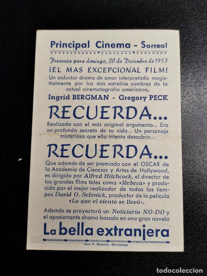 Cine: RECUERDA PROGRAMA SENCILLO PROCINES ALFRED HITCHCOCK INGRID BERGMAN CINE SARREAL 1953 TARRAGONA - Foto 2 - 195226163