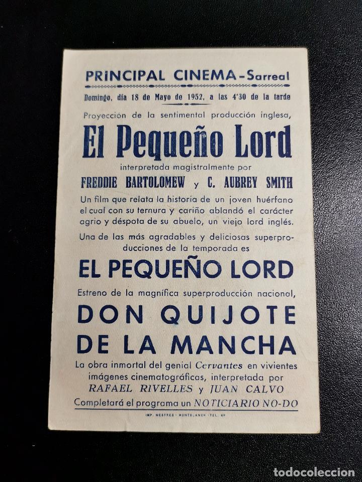 Cine: DON QUIJOTE DE LA MANCHA -- CINE SARREAL 1952 TARRAGONA - Foto 2 - 195228138