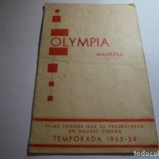 Cine: MAGNIFICO PROGRAMA DE CINE LOCAL OLYMPIA MANRESA TEMPORADA 1933-34. Lote 195233078