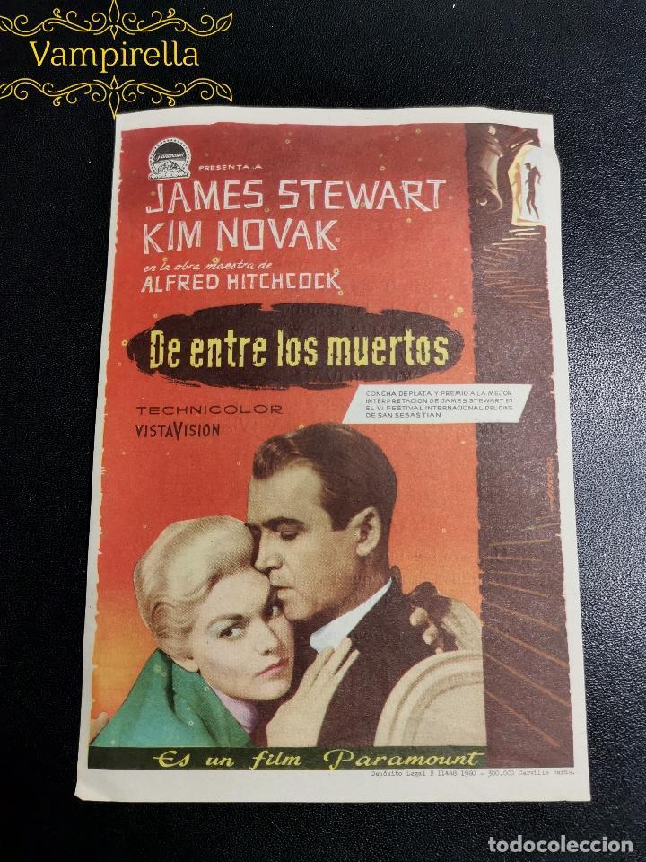 DE ENTRE LOS MUERTOS-VERTIGO---CINE PRINCIPAL SARREAL 1960 TARRAGONA (Cine - Folletos de Mano - Clásico Español)