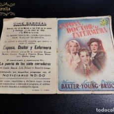 Cine: ESPOSA DOCTOR Y ENFERMERA--CINE PRINCIPAL SARREAL 1945TARRAGONA. Lote 195261625