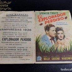 Cine: EL EXPLORADOR PERDIDO--CINE PRINCIPAL SARREAL 1945 TARRAGONA. Lote 195261756