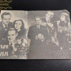 Cine: DOBLE -HONOR DE FAMILIA -CINE PRINCIPAL SARREAL 1943 TARRAGONA. Lote 195262155