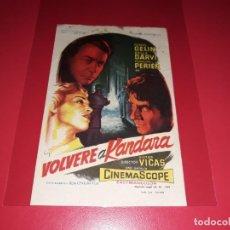 Cine: VOLVERE A KANDARA. PUBLICIDAD AL DORSO. AÑO 1956. Lote 195319762