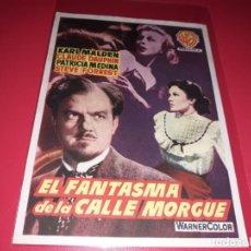Cine: EL FANTASMA DE LA CALLE MORGUE. PUBLICIDAD AL DORSO.AÑO 1954. Lote 195326126