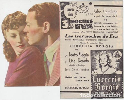 LAS 3 NOCHES DE EVA (CON PUBLICIDAD) (Cine - Folletos de Mano - Comedia)