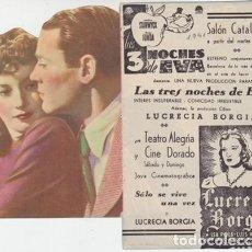 Cine: LAS 3 NOCHES DE EVA (CON PUBLICIDAD). Lote 195332953