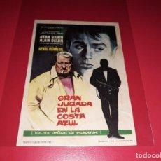 Cine: GRAN JUGADA EN LA COSTA AZUL CON ALAIN DELON. PUBLICIDAD AL DORSO. AÑO 1963.. Lote 195333348