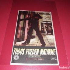 Cine: TODOS PUEDEN MATARME. PUBLICIDAD AL DORSO. AÑO 1957. Lote 195335593